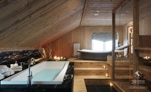Thiết kế nội thất Phòng xông hơi biệt thự Bắc Ninh